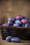 Blue plums in basket Stock Photo