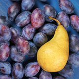 Blue plums and pear Stock Images