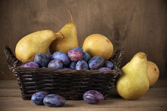 Blue plums and pears Stock Images