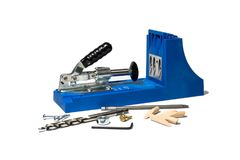 Blue pocket hole jig royalty free stock photo