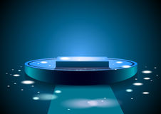 Blue  podium. Beautiful and plastic Illustration of blue dance podium with dancing light Royalty Free Stock Photos