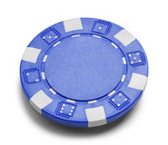 Blue Poker Chip. With Copy Space Isolated on a White Background Royalty Free Stock Image