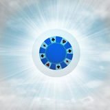 Blue poker chip in glossy bubble in the air with flare Stock Image