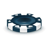 Blue poker chip isolated on white Royalty Free Stock Photo