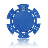 Blue poker chip Royalty Free Stock Photos