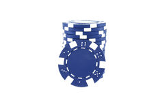 Blue poker chips Stock Photos