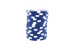 Blue poker chips Stock Images