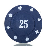 Blue poker chips close up  on white. Stock Photography