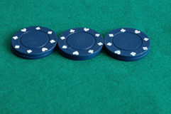 Blue poker chips Royalty Free Stock Photos