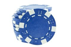 Blue poker chips isolated Stock Photography