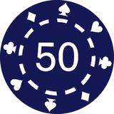 Blue poker chips with number 50. Vector royalty free illustration