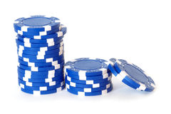 Blue poker chips Royalty Free Stock Photo