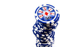 Blue poker chips stacked high Royalty Free Stock Photography