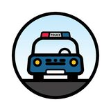 Blue Police Car Front view Royalty Free Stock Image