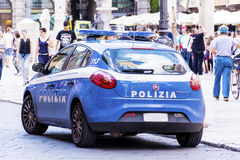 Blue Police car with  in Verona  , Italy Royalty Free Stock Photography