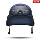 Blue Police helmets and mask. Vector Illustration. Royalty Free Stock Image