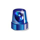 Blue police light. Isolated on white background Royalty Free Stock Photos