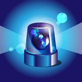 Blue police light. On blue background stock illustration