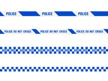 Blue police tape. Police warning blue tape set. Vector seamless pattern  on white background Stock Image