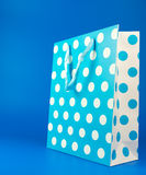 Blue polka dot gift bag Royalty Free Stock Images
