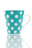 Blue Polka Dot Mug Isolated on White Stock Image