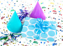 Blue Polka Dot Present Royalty Free Stock Photos