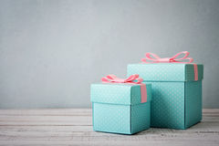 Blue polka dots gift boxes Royalty Free Stock Photo