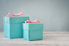 Blue polka dots gift boxes Royalty Free Stock Images