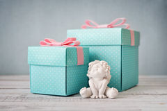 Blue polka dots gift boxes Stock Photos