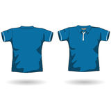 Blue polo shirt template. The men polo shirt template Royalty Free Stock Image