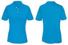 Blue Polo Shirt Template for Woman. Vector illustration of blank blue polo t-shirt template for woman, front and back design isolated on white Stock Photo