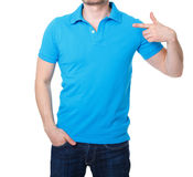 Blue polo shirt on a young man template Stock Photos