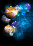 Blue polygon background with fur tree golden and silver mosaic balls. Stock Photo