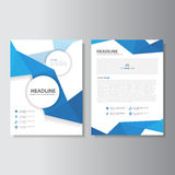 Blue Polygon brochure flyer leaflet abstract layout template flat design set for marketing Royalty Free Stock Photo
