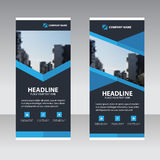 Blue polygon Business Roll Up Banner flat design template Royalty Free Stock Images