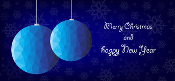 Blue polygon christmas decoration Stock Image