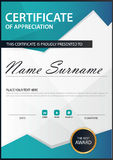 Blue polygon Elegance vertical certificate with Vector illustration ,white frame certificate template with clean and modern Royalty Free Stock Image