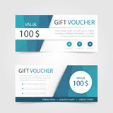Blue polygon Gift voucher template with colorful pattern,cute gift voucher certificate coupon. Design template,Collection gift certificate business card banner vector illustration