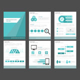 6 blue polygon infographic element and icon presentation templates flat design set for brochure flyer leaflet website. Advertising marketing banner Royalty Free Stock Image