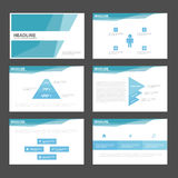 Blue polygon presentation templates Infographic elements flat design set for brochure flyer leaflet marketing Royalty Free Stock Photo