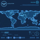 Blue Polygon World Map HUD Screen royalty free illustration