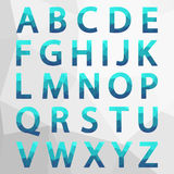 Blue Polygonal Alphabet Set. Royalty Free Stock Photos