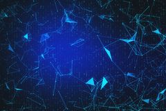 Blue polygonal background. Bright blue polygonal background with connections. AI and innovation concept. 3D Rendering vector illustration