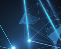 Blue polygonal background, technology. Abstract mesh wireframe connected point blue polygonal background. Technology, innovation and network concept. 3D Stock Image