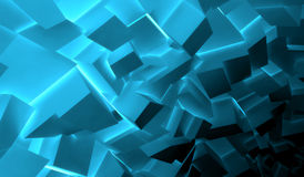 Blue polygonal blocks pattern, 3d render. Abstract digital background, chaotic dark shining blue polygonal blocks pattern, 3d illustration Stock Photography