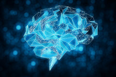 Blue polygonal brain Stock Photo