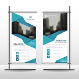 Blue polygonal Business Roll Up Banner flat design template ,Abstract Geometric banner template Vector illustration set Stock Photography