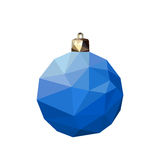 Blue polygonal Christmas ball Stock Photography
