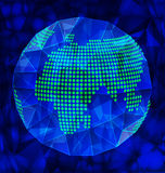 Blue polygonal globe Stock Photography