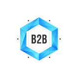 Blue polygonal hexagon icon with mesh and dots Stock Image